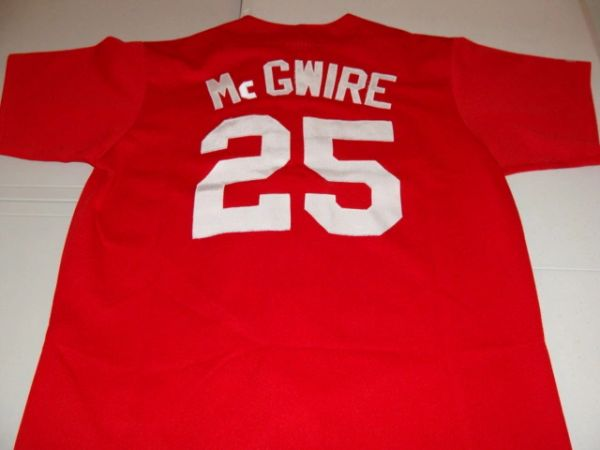 release date 8056f d7a53 #25 MARK McGWIRE St. Louis Cardinals MLB 1B Red Throwback Jersey