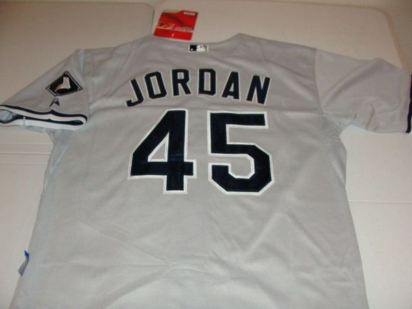 uk availability 86686 268aa #45 MICHAEL JORDAN Chicago White Sox MLB Grey Mint Fantasy Throwback Jersey