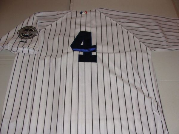 #4 LOU GEHRIG New York Yankees MLB 1B White PS Mint Throwback Jersey