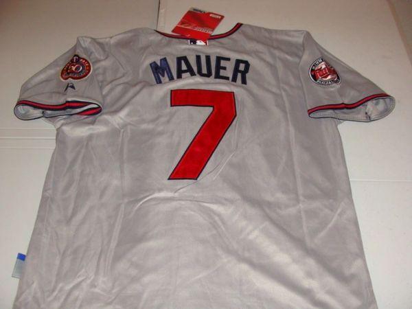 #7 JOE MAUER Minnesota Twins MLB C/1B/DH Grey Mint Throwback Jersey