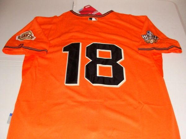 #18 MATT CAIN San Francisco Giants MLB Pitcher Orange 2010 WS Mint Throwback Jersey