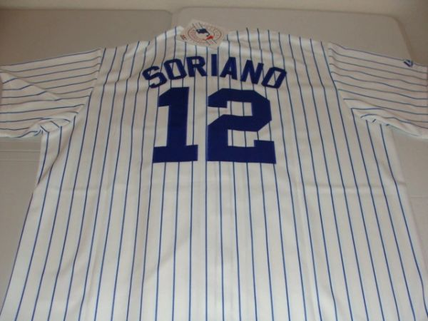 #12 ALFONSO SORIANO Chicago Cubs MLB OF/2B White PS Mint Throwback Jersey