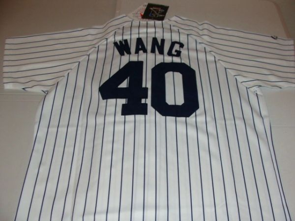 #40 CHIEN-MING WANG New York Yankees MLB Pitcher White PS Mint Throwback Jersey