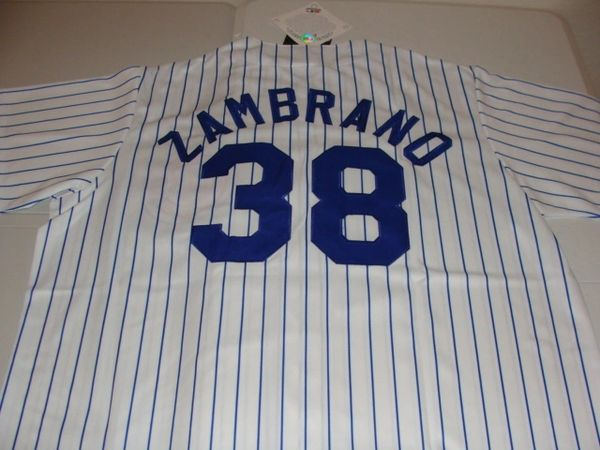 #38 CARLOS ZAMBRANO Chicago Cubs MLB Pitcher White PS Mint Throwback Jersey