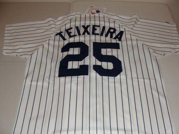 #25 MARK TEIXEIRA New York Yankees MLB 1B White PS Mint Throwback Jersey