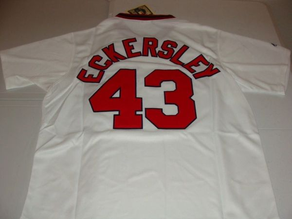 the best attitude 19fa3 7607c #43 DENNIS ECKERSLEY Boston Red Sox MLB Pitcher White Mint Throwback Jersey