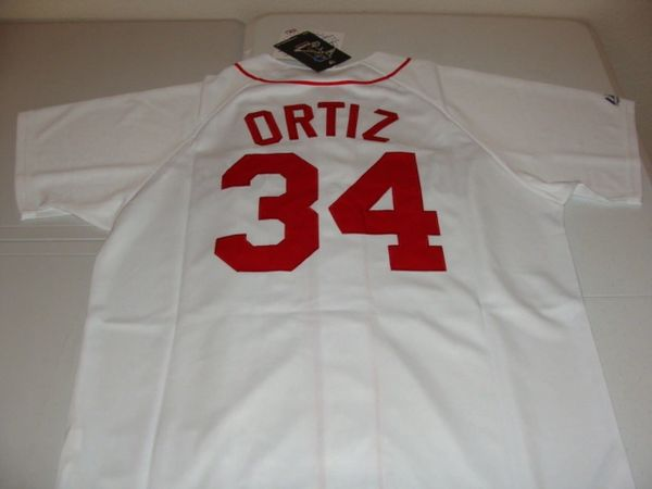 #34 DAVID ORTIZ Boston Red Sox MLB 1B/DH White Mint Throwback Jersey