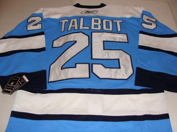 #25 MAXIME TALBOT Pittsburgh Penguins NHL Centre Blue Mint Throwback Jersey