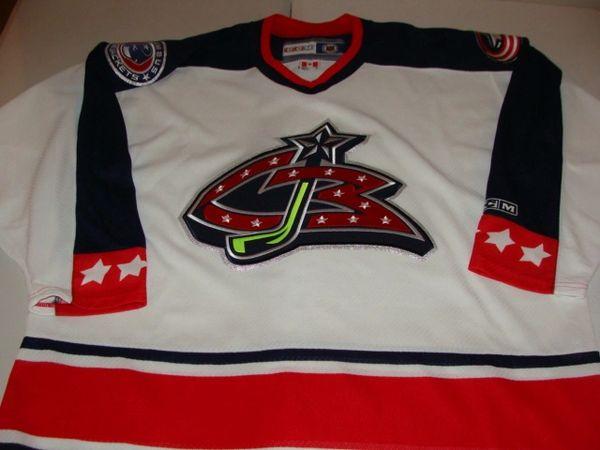 COLUMBUS Blue Jackets NHL Hockey White Throwback Team Jersey