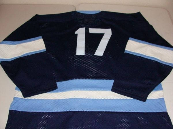 #17 HOUSTON Aeros WHA Hockey Blue Throwback Jersey