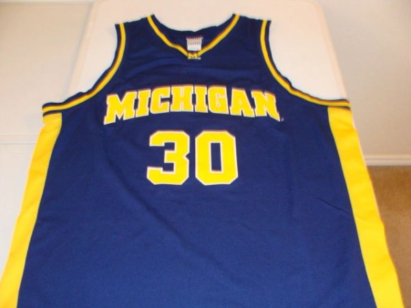 quality design 3d8ee ebd5b #30 MICHIGAN Wolverines NCAA Basketball Blue Throwback Team Jersey