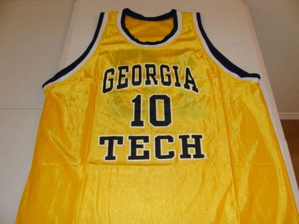 #10 GEORGIA TECH Yellow Jackets NCAA Basketball Yellow Throwback Team Jersey