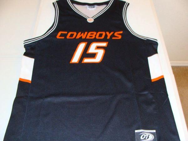 innovative design 868f6 bb829 #15 OKLAHOMA STATE Cowboys NCAA Basketball Black Throwback Team Jersey