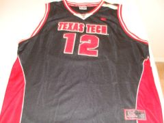 #12 TEXAS TECH Red Raiders NCAA Basketball Black Throwback Team Jersey