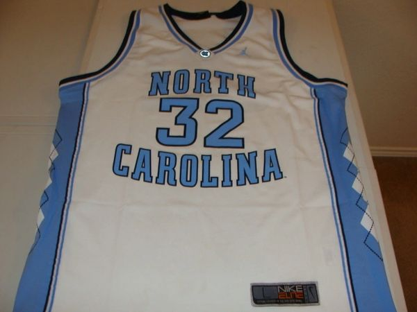 #32 NORTH CAROLINA Tar Heels NCAA Basketball White Throwback Team Jersey