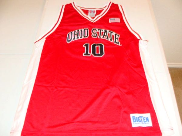 10 Ohio State Buckeyes Ncaa Basketball Red Throwback Team Jersey