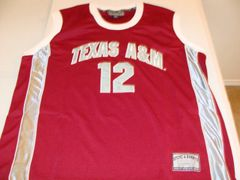 #12 TEXAS A&M Aggies NCAA Basketball Red Throwback Team Jersey