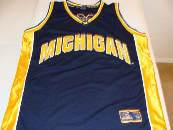 #1 MICHIGAN Wolverines NCAA Basketball Blue Throwback Team Jersey