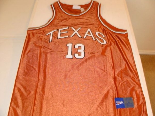 #13 TEXAS Longhorns NCAA Basketball Orange Throwback Team Jersey