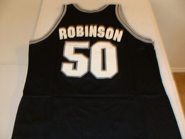 #50 DAVID ROBINSON San Antonio Spurs NBA Center Black Throwback Jersey
