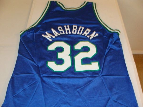 #32 JAMAL MASHBURN Dallas Mavericks NBA SF Blue Throwback Jersey