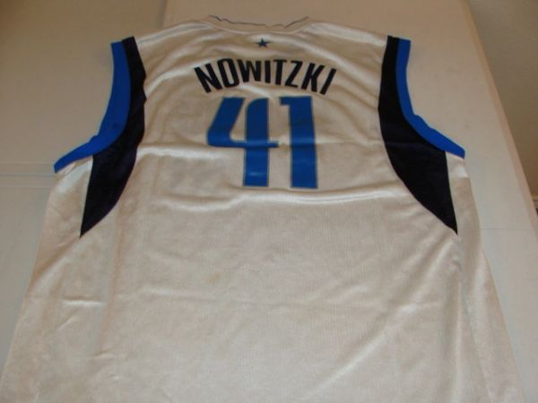 #41 DIRK NOWITZKI Dallas Mavericks NBA Forward White Throwback Jersey