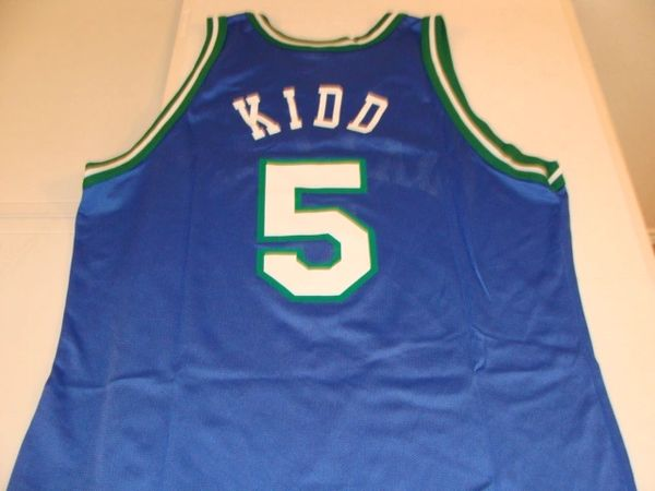 #5 JASON KIDD Dallas Mavericks NBA Guard Blue Champion Throwback Jersey