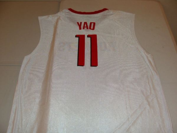 #11 YAO MING Houston Rockets NBA Center White Throwback Jersey