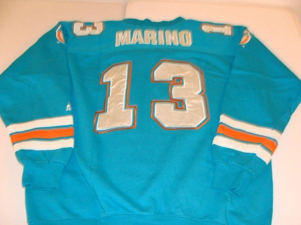 #13 DAN MARINO Miami Dolphins NFL QB Green Throwback Sweatshirt Jersey