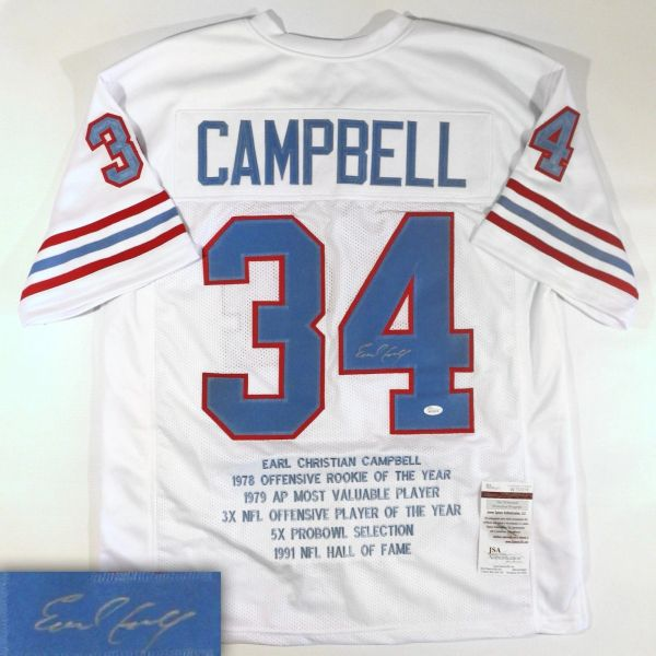 new concept 1ddfa 0e608 #34 EARL CAMPBELL Houston Oilers NFL RB White Stats Throwback Jersey  AUTOGRAPHED