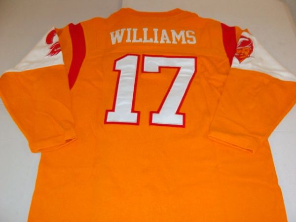 best service c6c2b 44d1f #17 DOUG WILLIAMS Tampa Bay Buccaneers NFL QB Orange L/S Throwback Jersey