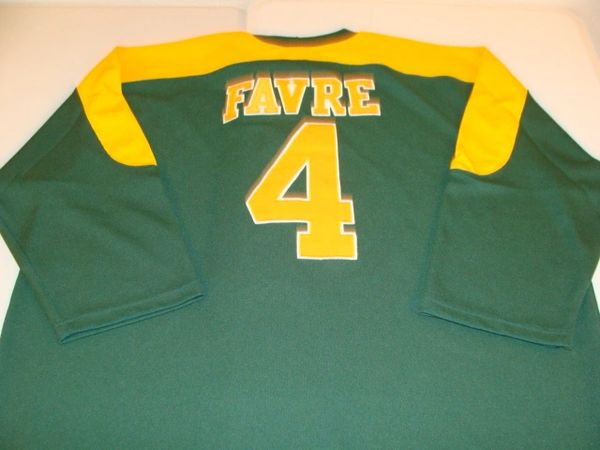 #4 BRETT FAVRE Green Bay Packers NFL QB Green L/S Throwback Jersey