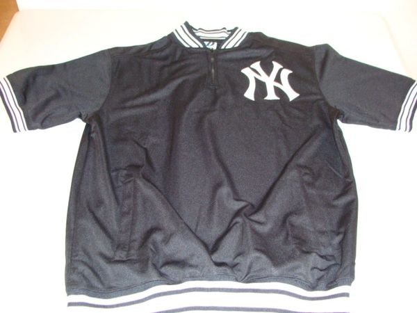 NEW YORK Yankees MLB Baseball Black Pullover Throwback Jacket