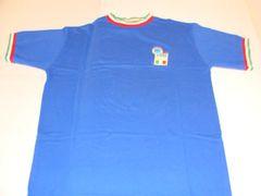 ITALIA FIGC UEFA Football Blue Throwback Tshirt