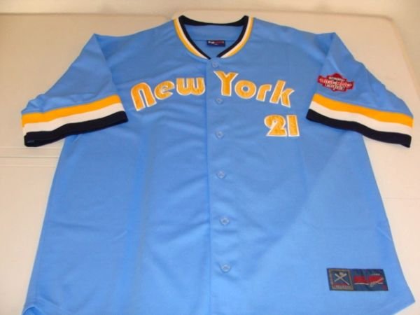 #21 NEW YORK BigLand Lt Blue Throwback Baseball Style Jersey
