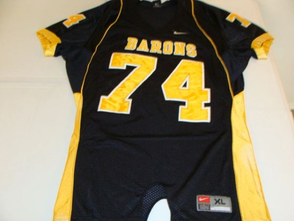 #74 BARONS Football Black Authentic Throwback Game Jersey