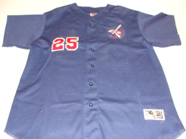 #25 Unknown Baseball Team Blue Throwback Jersey