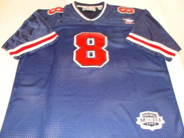 #8 212 NYC Brand Blue Throwback Football Style Jersey