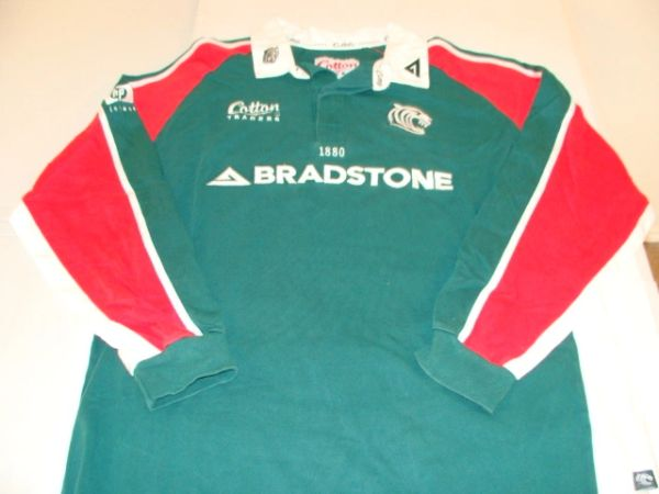 LEICESTER Tigers English Rugby Union Green L/S Throwback Team Jersey