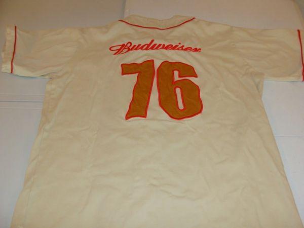 #76 BUDWEISER Beer Gold Throwback Baseball Style Jersey