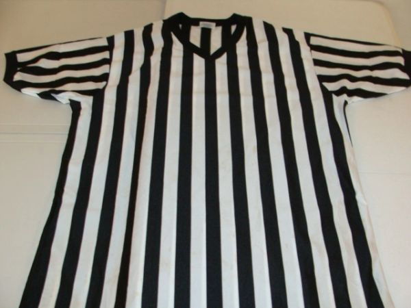 REFEREE Black/White Striped S/S Throwback Jersey