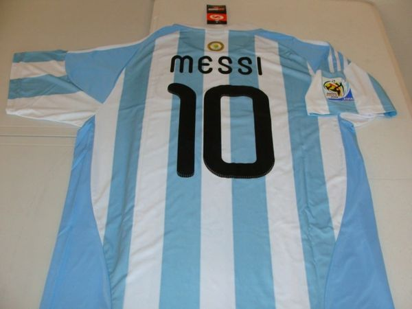 best service 2e83c 3f952 #10 LIONEL MESSI Argentina National Team FIFA Forward WC 2010  Blue/White/Black Mint Throwback Uniform Kit