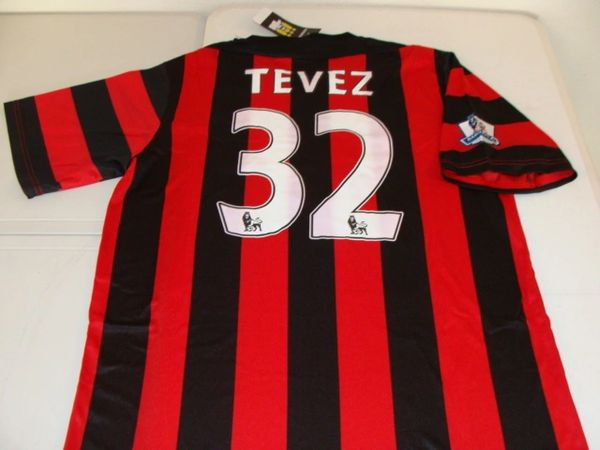 #32 CARLOS TEVEZ Manchester City FC EPL Forward Black/Red Mint Throwback Uniform Kit