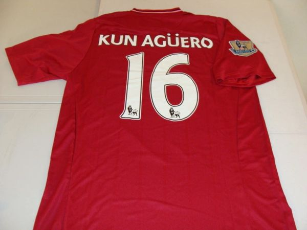 #16 SERGIO KUN AGUERO Manchester City FC EPL Striker Red Mint Throwback Uniform Kit