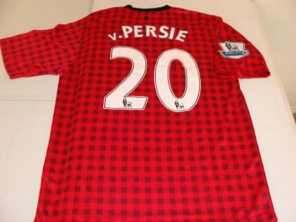 #20 ROBIN van PERSIE Manchester United EPL Forward Red/Black/White Mint Throwback Uniform Kit