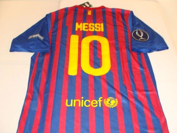 "#10 LIONEL MESSI FC Barcelona La Liga Forward Red/Blue ""2011 UEFA Super Cup"" Mint Throwback Uniform Kit"