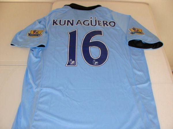 #16 SERGIO KUN AGUERO Manchester City FC EPL Striker Lt Blue/White Mint Throwback Uniform Kit