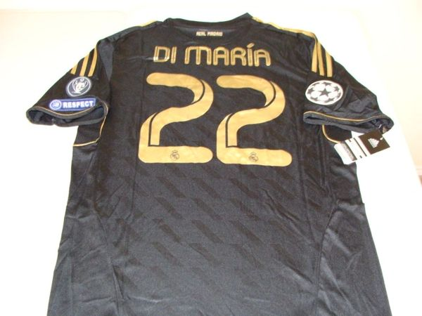 "#22 ANGEL DI MARIA Real Madrid CF La Liga Winger/MF Black ""Champions League"" Mint Throwback Uniform Kit"