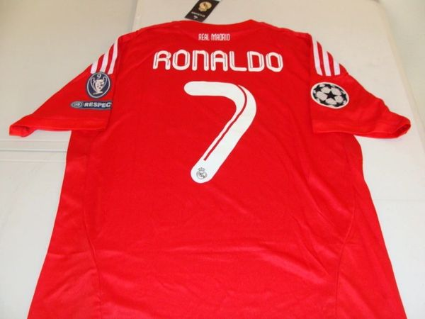 "#7 CRISTIANO RONALDO Real Madrid CF La Liga Forward Red ""Champions League"" Mint Throwback Uniform Kit"