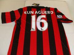 #16 SERGIO KUN AGUERO Manchester City FC EPL Striker Red/Black Mint Throwback Uniform Kit